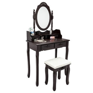 Vanity Table Set with Round Mirror 4 Large Sliding Drawers - N/A
