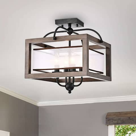 Alina Antique Black Metal Natural Wood Flush Mount with Fabric Shade