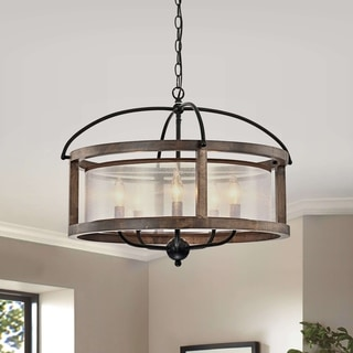 Link to The Gray Barn Mentmore Antique Black Metal Fabric Drum Shade Wood Frame Chandelier Similar Items in Chandeliers
