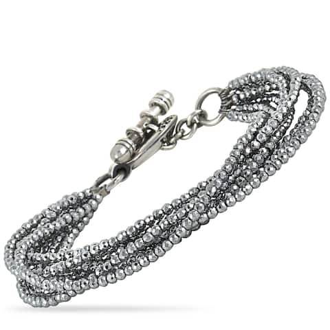 King Baby Sterling Silver and Hematite Bracelet