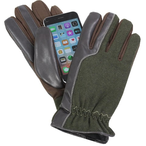 Isotoner A70125 Mens Smartouch Touchscreen Gloves Brown