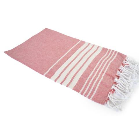 Porch & Den Parkwest Stripe Pattern Woven Cotton Throw Blanket