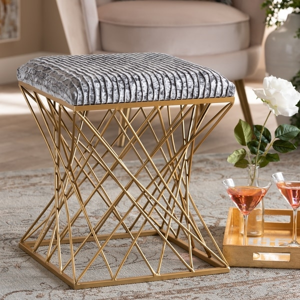Fiore Glam And Luxe Upholstered Ottoman by Baxton Studio