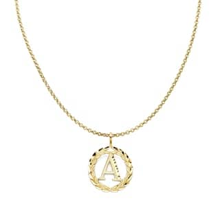 14k Yellow Gold Round Wreath Initial Letter Pendant and 1.2mm Rolo Chain