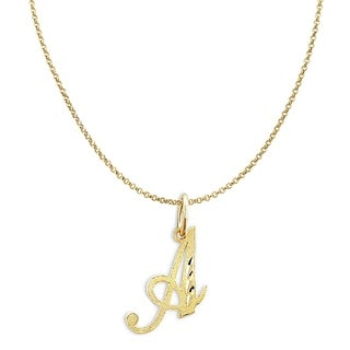 14K Yellow Gold Diamond-cut Cursive Letter Initial Pendant and 1.2mm Rolo Chain