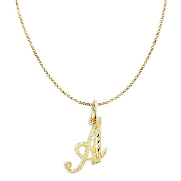 14K Yellow Gold Diamond-cut Cursive Letter Initial Pendant and 1.2mm Rolo Chain. Opens flyout.