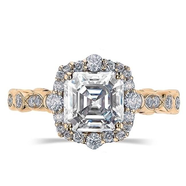 2 5ct Tgw Vintage Asscher Cut Moissanite Engagement Ring 14 Karat Yellow Gold Overstock 29795351