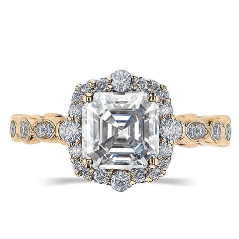 2.5ct TGW Vintage Asscher Cut Moissanite Engagement Ring 14 Karat Yellow Gold