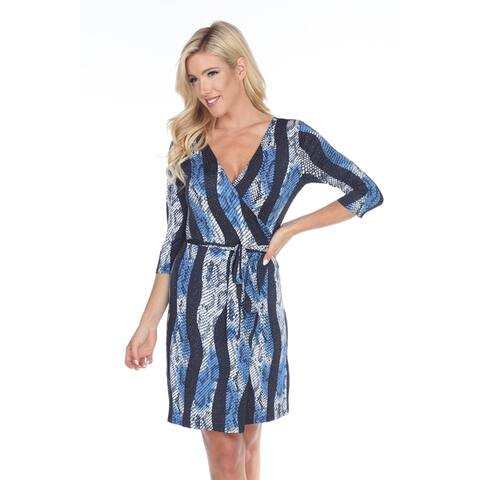 White Mark Women's Mariah Animal Print Wrap Dress