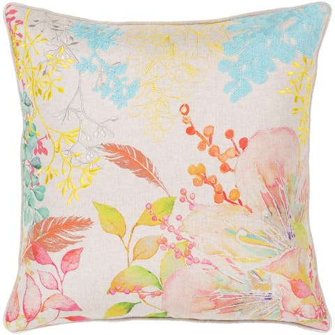 Fiore Embroidered Orange Floral 18-inch Poly or Feather Down Throw Pillow