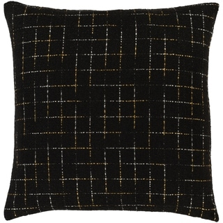 Helga Metallic Grid Black Throw Pillow Cover