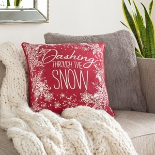 Dashing Holiday Red 18-inch Throw Pillow Cover