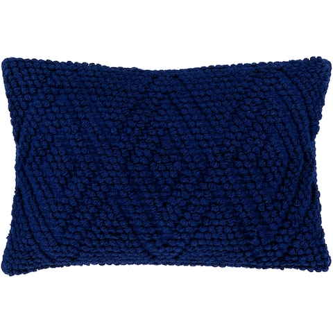 Nadra Hand Woven Blue 14 x 22-inch Down or Poly Filled Lumbar Pillow