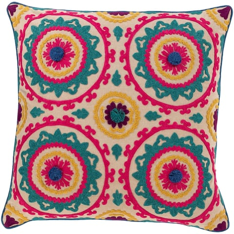 Kels Embroidered Mandala 22-inch Poly or Feather Down Throw Pillow