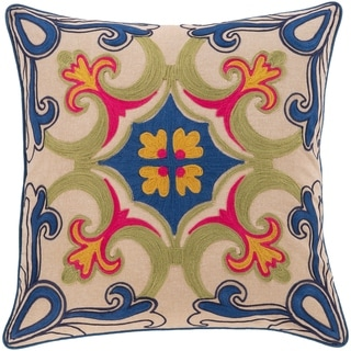 Kasota Embroidered Medallion 22-inch Poly or Feather Down Throw Pillow