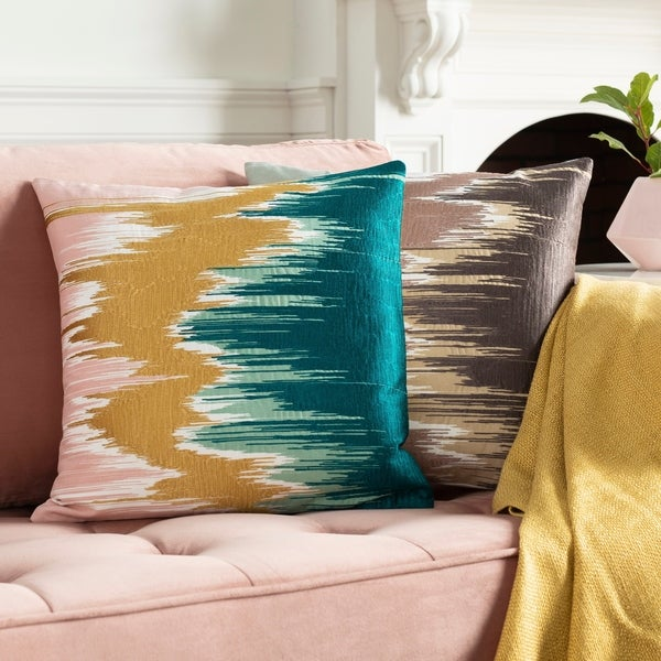 Lena Modern Hand-Embroidered 22-inch Throw Pillow Cover. Opens flyout.