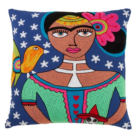 Cotton Pillow with Frida Kahlo Design
