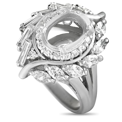 Platinum and Round,Baguette, and Marquise Diamonds Oval Mounting Ring Size 5