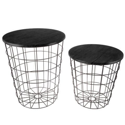 Set of 2 Nesting End Tables by Lavish Home - 17.5 x 17.5 x 20.5
