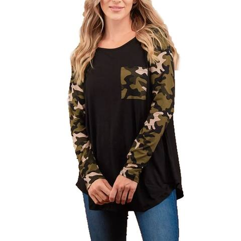 Womens Black Longsleeve T-Shirt Camoflauge Pocket Camoflauge Long Sleeves