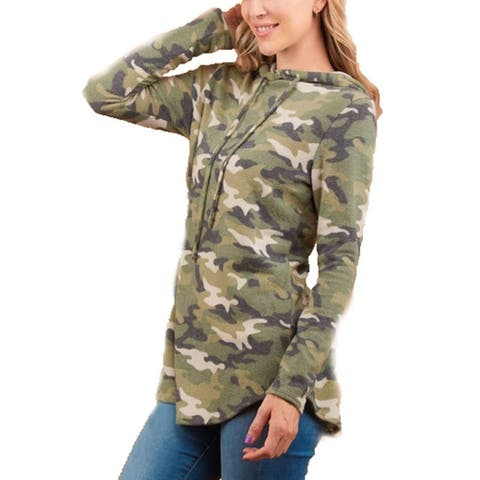 Womens Camouflage Hoodie Long Sleeve Fuzzy Camo Hoodie