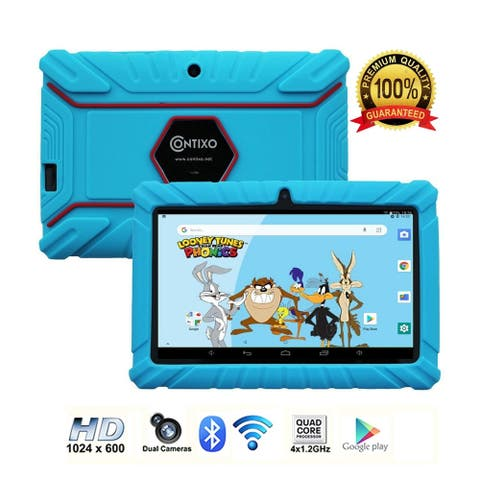 """Contixo 7"""" Kids Tablet Best 2020 V8-2 16GB Android 8.1 Touch Screen Display Bluetooth Dual Camera w/Kid-Proof Case (Blue)"""
