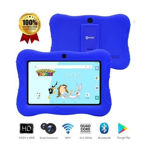 "Contixo 7"" V9-3 Kids Tablet Android 9.0 Touch Screen Display Bluetooth Dual WiFi Camera Tablet for Kids w/Kid-Proof Case (Blue)"