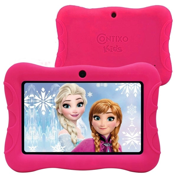 """Contixo 7"""" Kids Tablet Best 2020 V8-3 16GB Android 8.1 Touch Screen Display Dual WiFi Camera w/Kid-Proof Case (Pink). Opens flyout."""