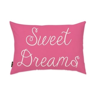 Oliver Gal 'Sweet Dreams' Typography and Quotes Decorative Pillow - Pink, White - Pink, White
