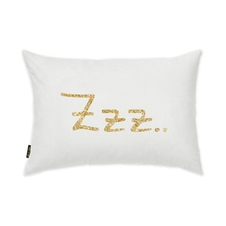 Oliver Gal 'ZZZ Gold' Typography and Quotes Decorative Pillow - Gold, White - Gold, White