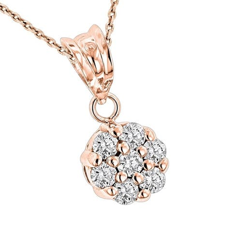 Luxurman 14k Gold 1/2 ct TDW Diamond Necklace Flower Pendant with Chain