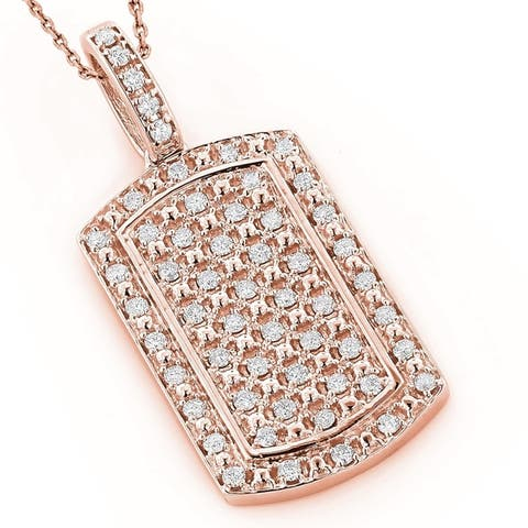 14K Gold Mini Diamond Necklace Dog-Tag Pendant with Chain