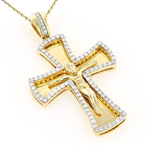 Luxurman 14k Gold 1 1/5 ct TDW Round Diamond Necklace Cross Pendant with Chain