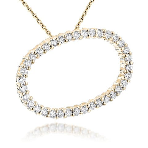 Luxurman Women's 14k Gold 3/4 ct TDW Diamond Necklace Pendant with Chain