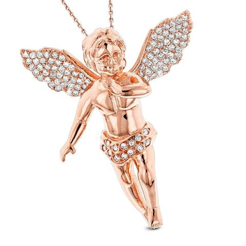 Luxurman 14k Gold 5/8 ct TDW Diamond Necklace Angel Pendant with Chain