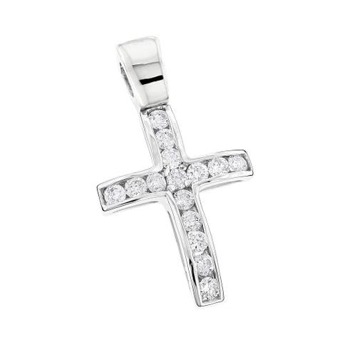 Luxurman 14k Gold 4/5 ct TDW Diamond Neckalce Cross Pendant with Chain