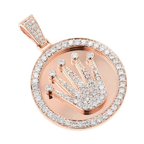Luxurman 10k Gold 3 ct TDW Diamond Necklace Crown Medallion Pendant with Chain