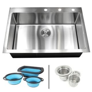 Link to 33 in. x 22 in. x 10 in.16-Gauge Topmount Drop-In Single Bowl Kitchen Sink  w/Silicone Collapsible Colanders and Strainer Similar Items in Sinks