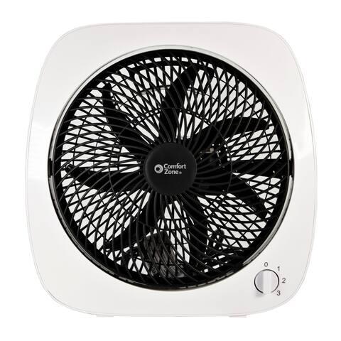 """Comfort Zone 10"""" Square Turbo Fan, White"""