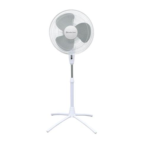 Comfort Zone CZST185WT Adjustable-Height 18-inch 3-Speed Oscillating Pedestal Fan with Quad-Pod® Folding Base