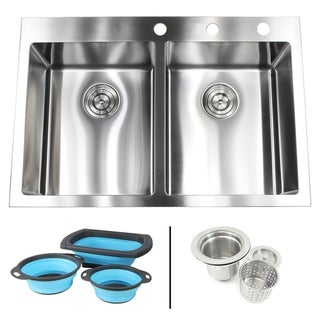 Link to 33 in. x 22 in. x 10 in.16-Gauge Topmount Drop-In 50/50 Double Bowl Kitchen Sink w/Silicone Collapsible Colanders and Strainer Similar Items in Sinks