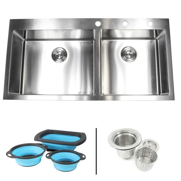 Shop 42 7 8 In X 21 1 2 In X 10 In 16 Gauge Topmount Drop In 60 40 Bowl Kitchen Sink W Silicone Collapsible Colanders And Strainer Overstock 29797344