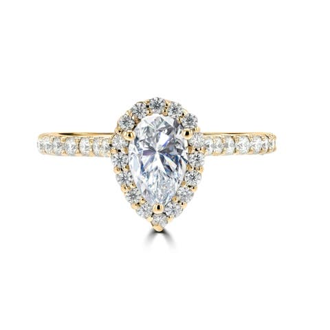 1.2ct TGW 14 Karat Yellow Gold Pear Moissanite Halo Engagement Ring