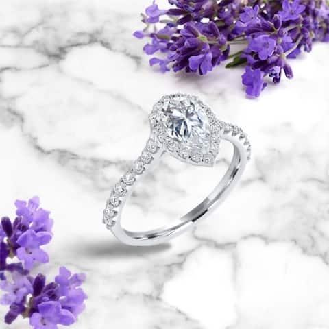 1.2ct TGW 14 Karat White Gold Pear Moissanite Halo Engagement Ring