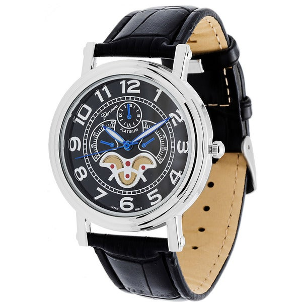 Geneva Platinum Men's Faux Leather Classic Reserve Watch