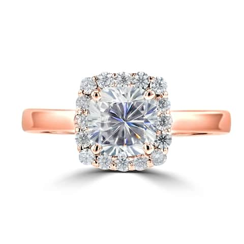 1.5ct TGW Cushion Cut Moissanite Halo Ring 14 Karat Rose Gold