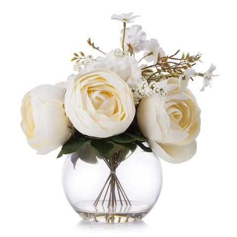 Enova Home Beige Silk Peony and Hydrangea Flower Arrangement in Clear Glass Vase with Faux Water For Home Decoration