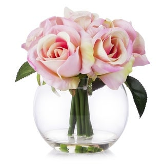 Enova Home Pink Velet Rose Flower Arrangement in Clear Glass Vase With Faux Water For Home Office Decoration - N/A