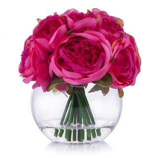 Enova Home Purple Red Silk Peony Flower Arrangement in Clear Glass Vase With Faux Water For Home Decoration - N/A