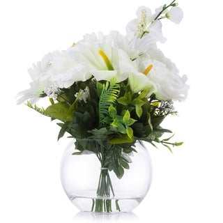 Enova Home Cream Silk Rose Lily Flower Arrangement in Clear Glass Vase With Faux Water - N/A